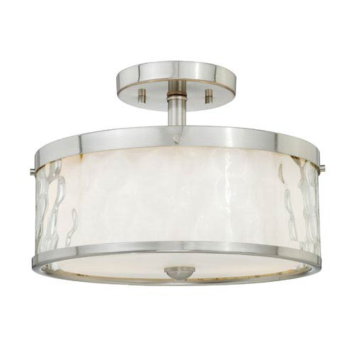 Vaxcel Vilo Satin Nickel Two-Light Semi Flush with Outer Water Glass