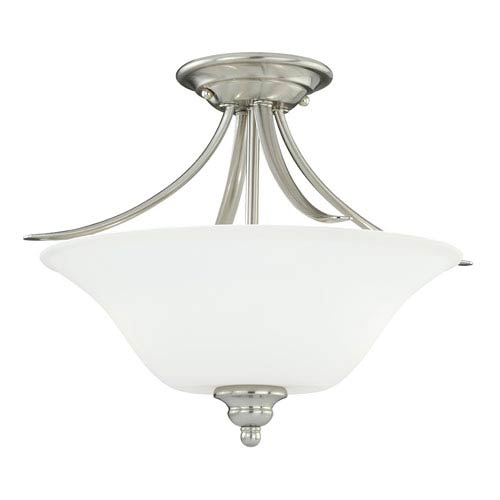 Vaxcel Darby Satin Nickel Two-Light Semi Flush with Etched White Glass