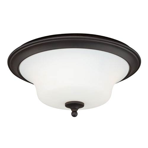 Cordoba Noble Bronze Two-Light Flush Mount with Frosted Opal Glass