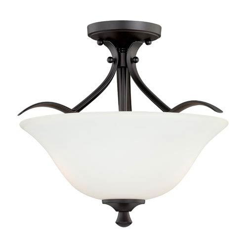 Vaxcel Cordoba Noble Bronze 16-Inch Wide Two-Light Semi Flush with Etched White Glass