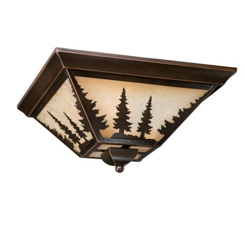 Yosemite Burnished Bronze Three-Light 14-Inch Flushmount