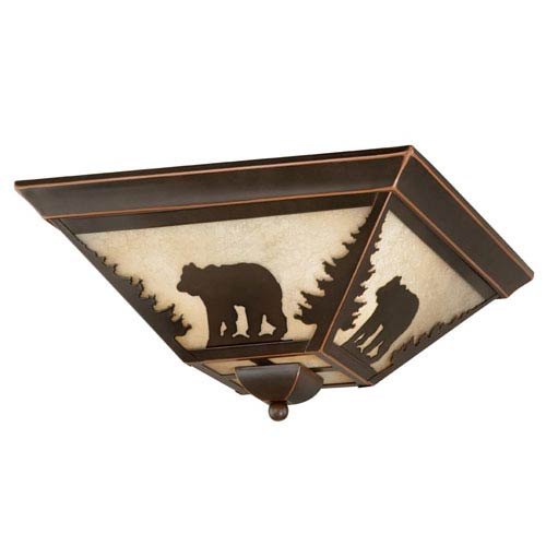 Bozeman Burnished Bronze Three-Light 14-Inch Flushmount