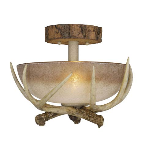 Vaxcel Lodge Noachian Stone Two-Light 12-Inch Semi Flush Ceiling Light