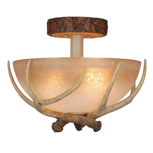 Vaxcel Lodge Noachian Stone Three-Light 16-Inch Semi Flush Ceiling Light