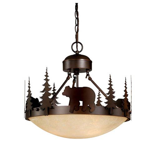 Vaxcel Bozeman Burnished Bronze Three-Light 18-Inch Semi-Flush Ceiling Light