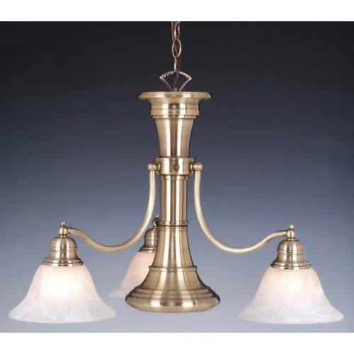 Vaxcel Standford Antique Brass Three-Light Chandelier with Downlight