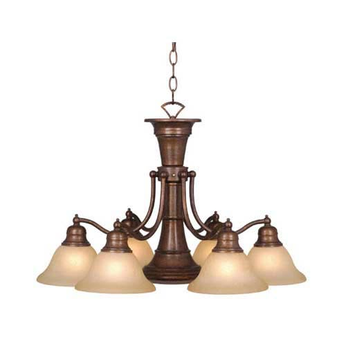 Vaxcel Standford Six-Light Chandelier with Downlight