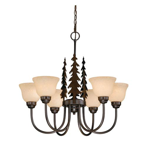 Vaxcel Yosemite Burnished Bronze Six-Light Chandelier