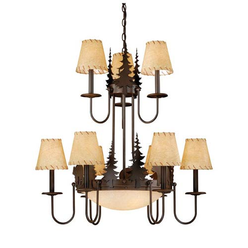 Bozeman Burnished Bronze Twelve-Light Chandelier