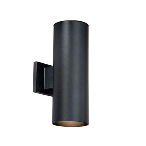 Vaxcel Chiasso Textured Black Two-Light 5-Inch Outdoor Wall Light