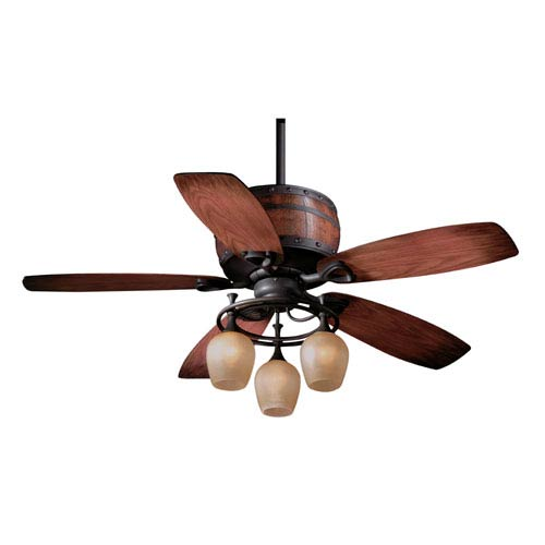 Vaxcel Cabernet Oil Burnished Bronze Three-Light 52-Inch Ceiling Fan