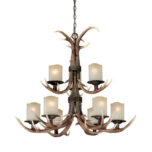 Vaxcel Yoho Nine-Light Black Walnut Chandelier