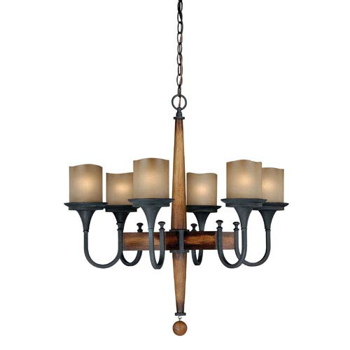 Vaxcel Meritage Charred Wood and Black Iron Six-Light Chandelier