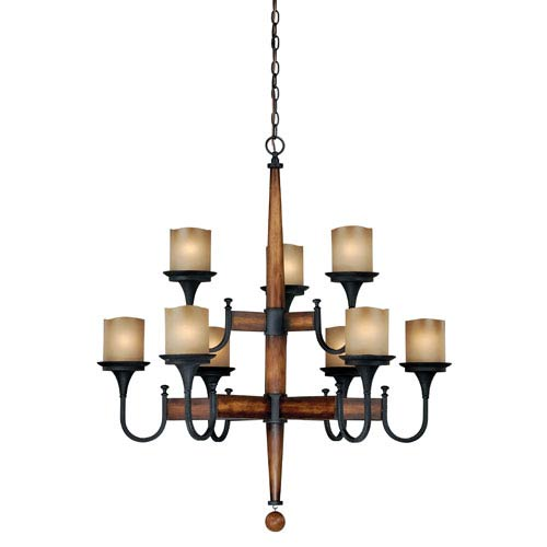 Vaxcel Meritage Charred Wood and Black Iron Nine-Light Chandelier with Antique Cream Glass