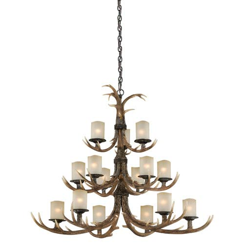 Yoho Black Walnut 15-Light Chandelier with Creme Cognac Glass