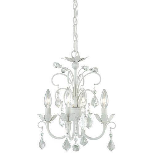 Ellie Satin White Four-Light Mini Chandelier with Clear Drop Crystals
