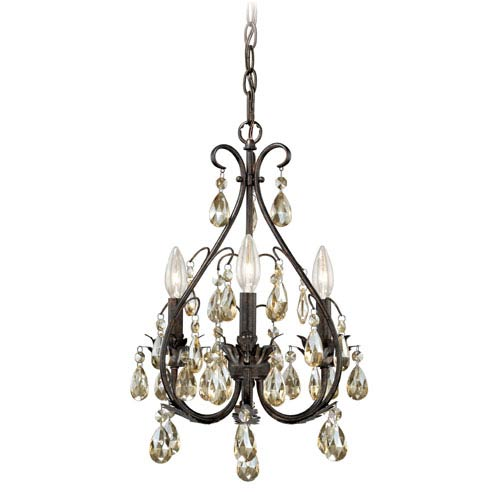 Vaxcel Alicia Gold Flake Bronze Three-Light Mini Chandelier with Amber Drop Crystals