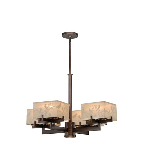 Vaxcel Aviary Venetian Bronze Five-Light Chandelier with Cream Organza Shade and Aviary Pattern Inside