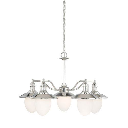 Vaxcel Marina Bay Polished Nickel Five-Light Chandelier with Frosted Opal Glass