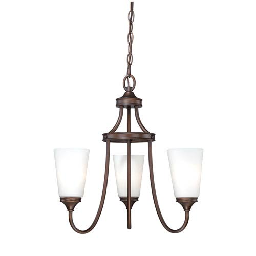 Lorimer Venetian Bronze Three-Light Chandelier with Frosted Opal Glass