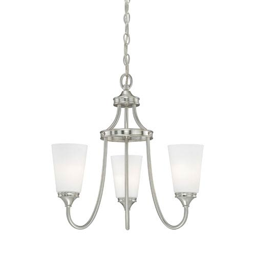 Vaxcel Lorimer Satin Nickel Three-Light Chandelier with Frosted Opal Glass