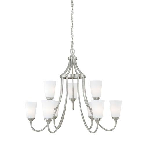 Vaxcel Lorimer Satin Nickel Nine-Light Chandelier with Frosted Opal Glass