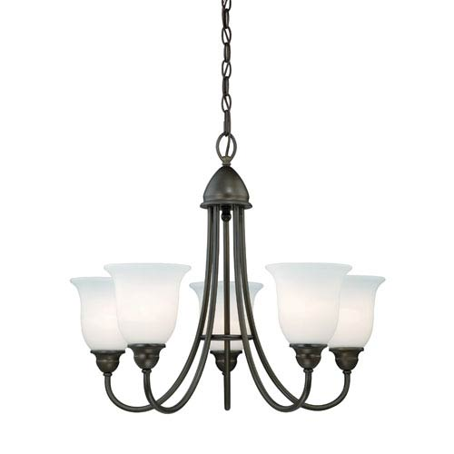 Concord Oil Rubbed Bronze Five-Light Chandelier with Etched White Glass