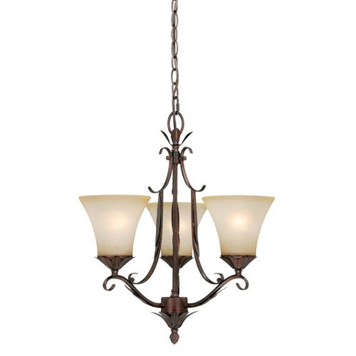 Vaxcel Coricelli Royal Bronze Three-Light Chandelier with Brushed Cognac Glass