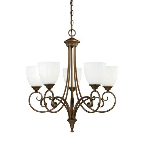 Vaxcel Claret Venetian Bronze Five-Light Chandelier with Etched White Glass