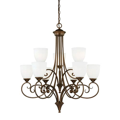 Claret Venetian Bronze Nine-Light Chandelier with Etched White Glass