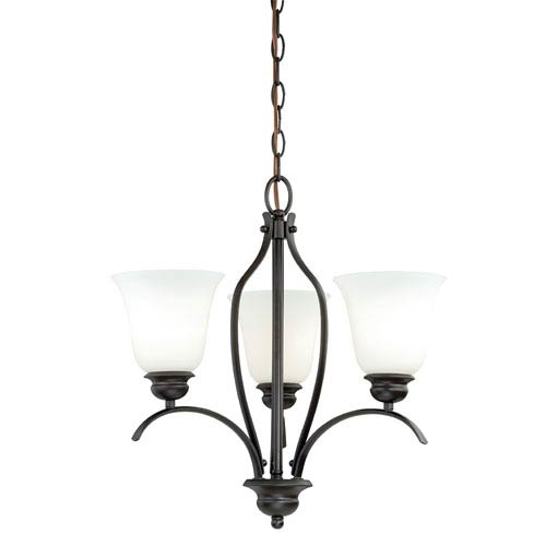 Darby New Bronze 18-Inch Wide Three-Light Mini Chandelier with Etched White Glass