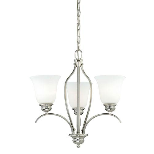 Darby Satin Nickel 18-Inch Wide Three-Light Mini Mini Chandelier with Etched White Glass
