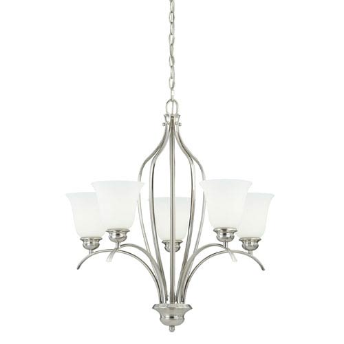 Vaxcel Darby Satin Nickel 27-Inch High Five-Light Chandelier with Etched White Glass