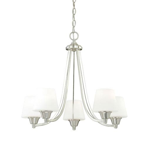 Vaxcel Calais Satin Nickel Five-Light Chandelier with Frosted Opal Glass