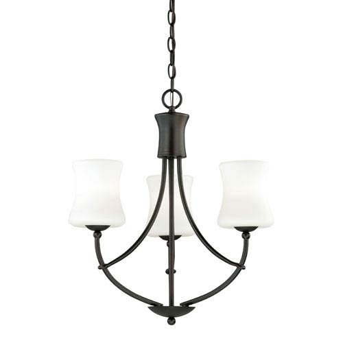 Vaxcel Poirot New Bronze Three-Light Chandelier with Etched White Glass