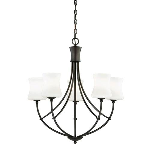 Vaxcel Poirot New Bronze Five-Light Chandelier with Frosted Opal Glass