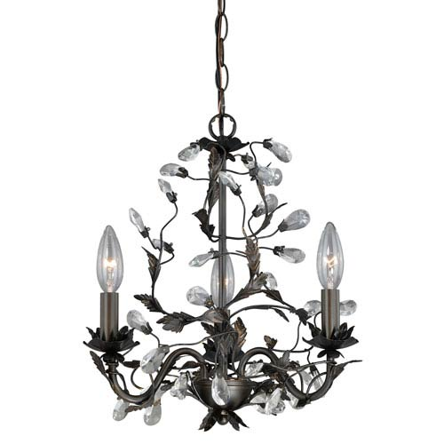Trellis Architectural Bronze Three-Light Mini Chandelier