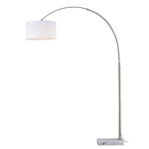 Luna Instalux Satin Nickel LED Arc Lamp with Cream Linen Shade