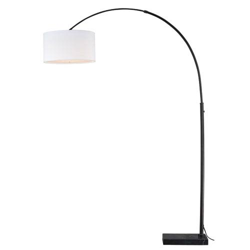 Luna Instalux Oil Rubbed Bronze LED Arc Lamp with Cream Linen Shade