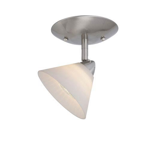Vaxcel Milano Satin Nickel Ceiling Light w/White Glass