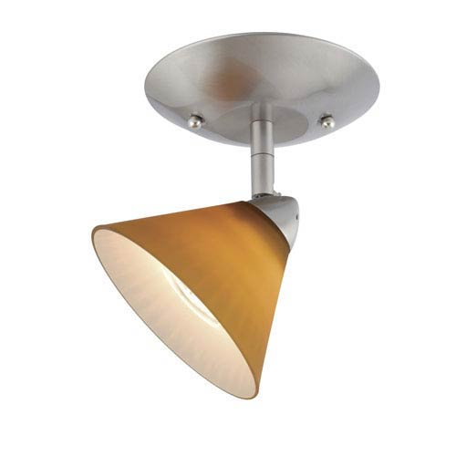 Milano Satin Nickel Ceiling Light w/Honey Ripple Glass