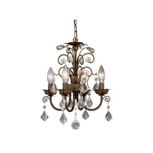 Aged Walnut Four-Light Mini Chandelier
