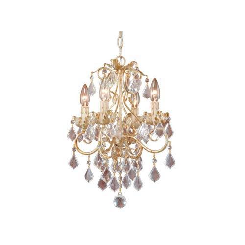Newcastle Gilded White Gold Four-Light Chandelier