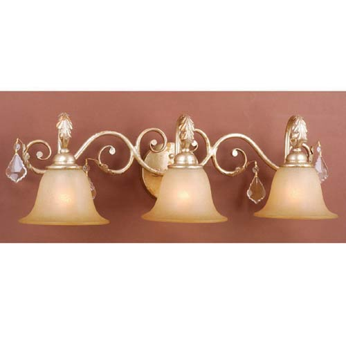 Newcastle Gilded White Gold Three-Light Bath Fixture