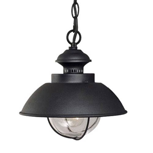 Vaxcel Harwich Textured Black 10-Inch Outdoor Pendant