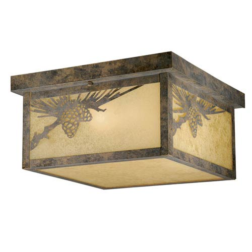Whitebark Olde World Patina Two-Light Outdoor Ceiling Light