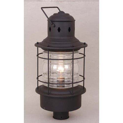 Nautical Textured Black Outdoor Post Mounted Light