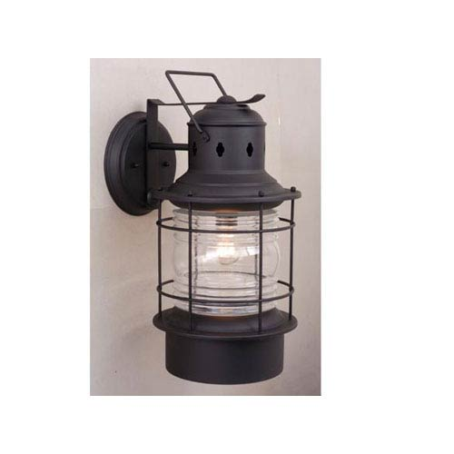 Vaxcel Hyannis Textured Black 8-Inch Outdoor Wall Light