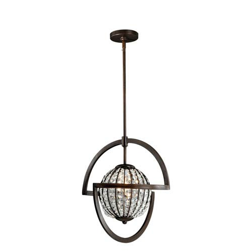 Vaxcel Mondial Venetian Bronze One-Light Pendant with Faceted Crystals