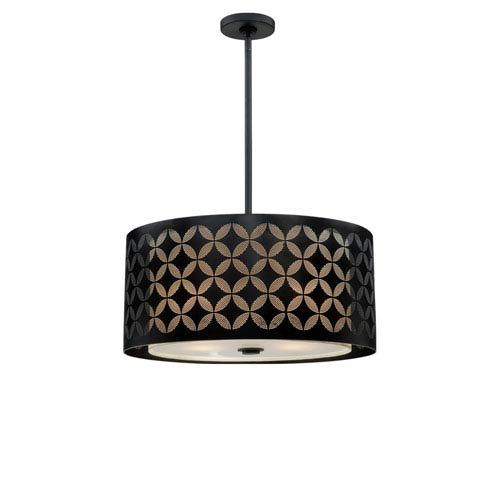 Astre Black Four-Light Drum Pendant with Steel Shade